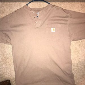 Carhartt Henley Walnut Short Sleeve Work Wear